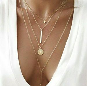 Gold Multilayered Bar Pentagram Star Necklace
